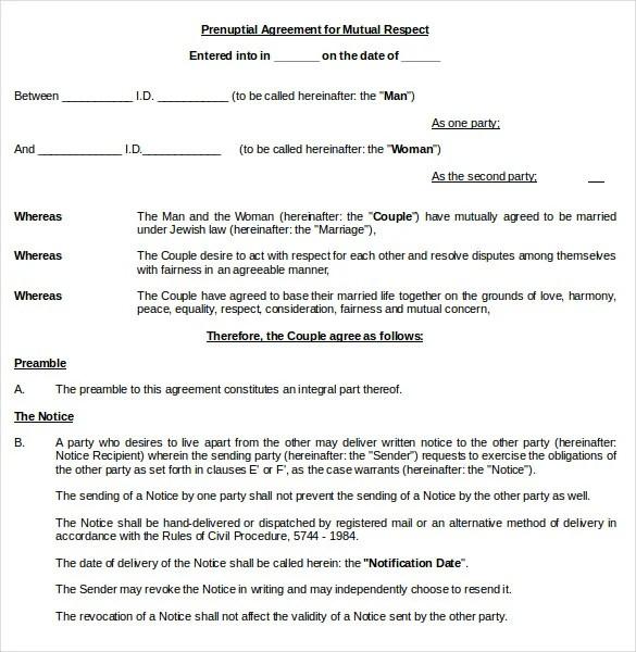 10+ Prenuptial Agreement Templates \u2013 Free Sample, Example, Format - sample prenuptial agreement template