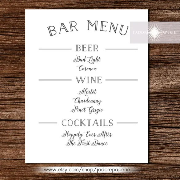 free drink menu template - Boatjeremyeaton - Free Drink Menu Template