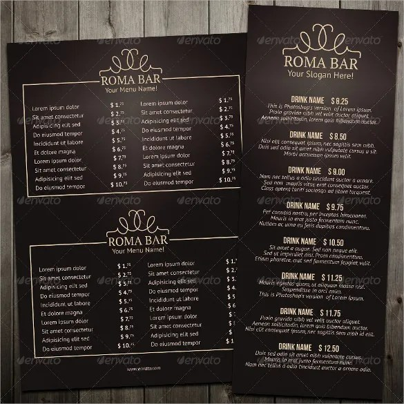 Bar Menu Templates \u2013 35+ Free PSD, EPS Documents Download! Free
