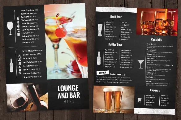 bar menu template - Funfpandroid - drinks menu template