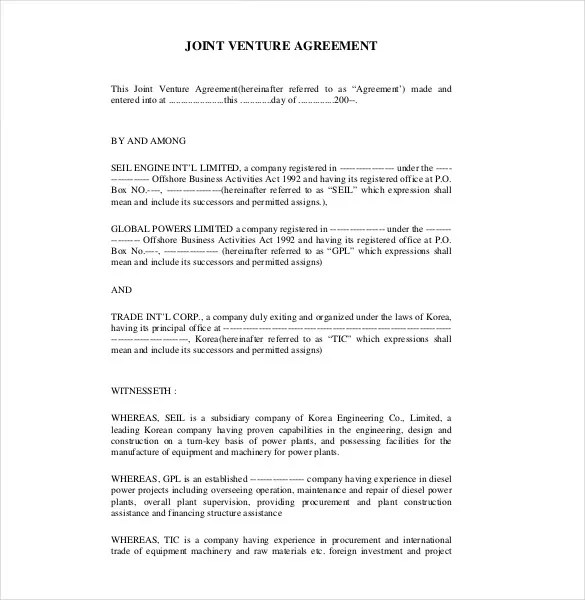 10+ Joint Venture Agreement Templates u2013 Free Sample, Example - joint partnership agreement template
