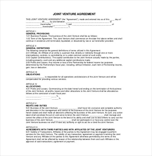 10+ Joint Venture Agreement Templates \u2013 Free Sample, Example, Format