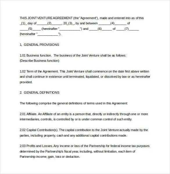 10+ Joint Venture Agreement Templates \u2013 Free Sample, Example, Format - joint venture agreements sample