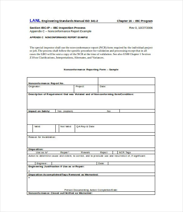 Sample Non Conformance Report Template - 10 Free Word, PDF - project report template word