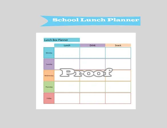 school lunch menu templates