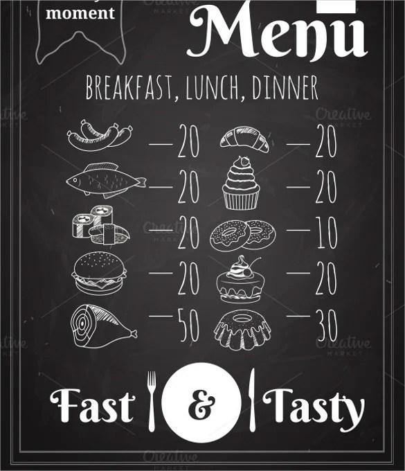 25+ Lunch Menu Templates u2013 Free Sample, Example Format Download - sample chalkboard menu template