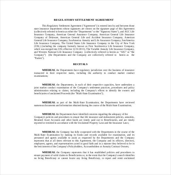 settlement agreement samples - Ozilalmanoof - settlement agreement