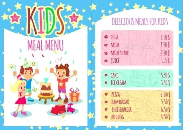 Kids Menu Templates \u2013 26+ Free PSD, EPS Documents Download! Free - kids menu templates