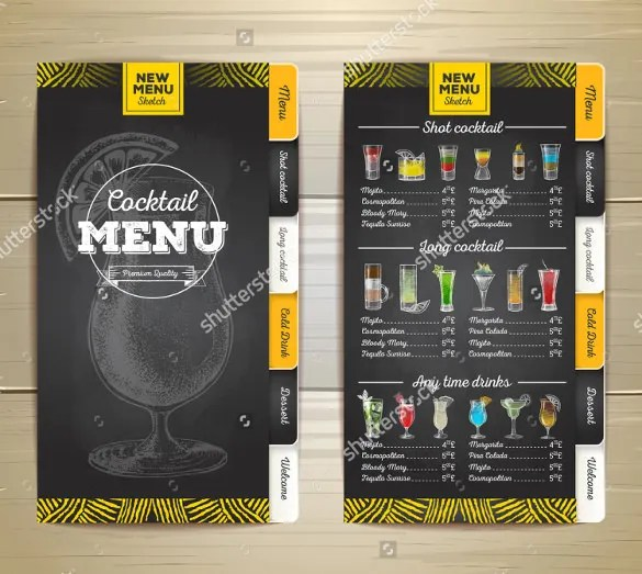 29+ Cocktail Menu Templates \u2013 Free Sample, Example Format Download