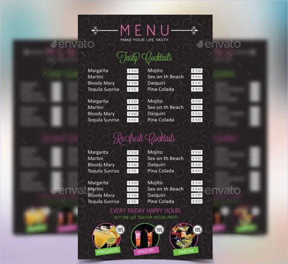 Cocktail Menu Template u2013 49+ Free PSD, EPS Documents Download - sample drink menu template