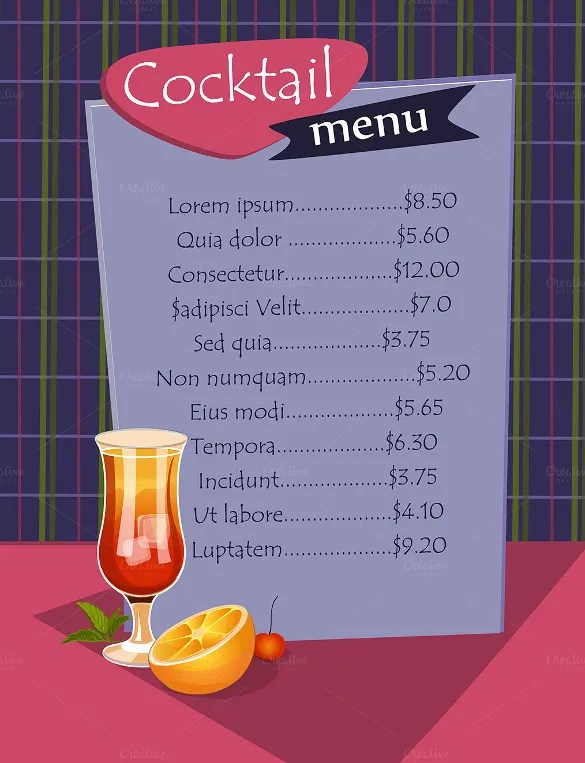 Cocktail Menu Templates \u2013 54+ Free PSD, EPS Documents Download