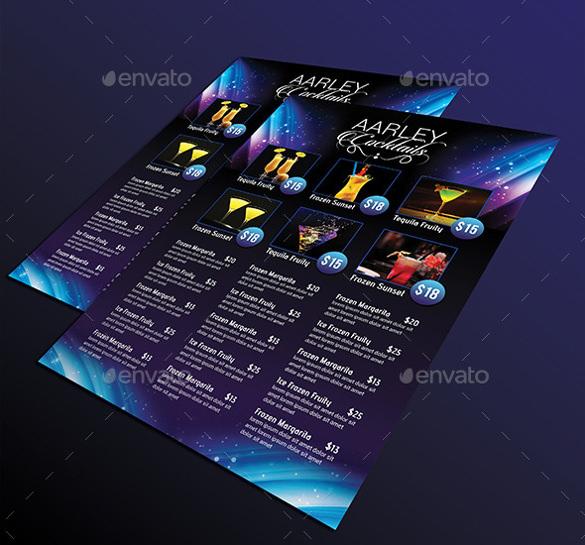 29+ Cocktail Menu Templates \u2013 Free Sample, Example Format Download