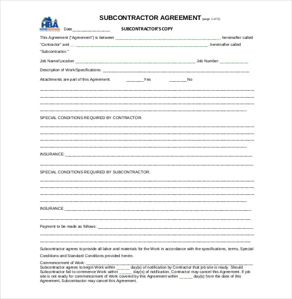 10+ Subcontractor Agreement Templates u2013 Free Sample, Example - subcontractor agreement template