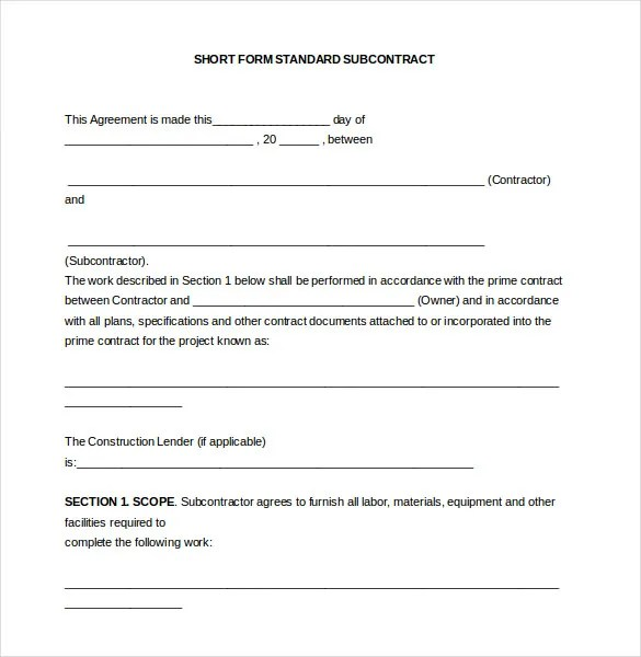 14+ Subcontractor Agreement Templates \u2013 Free Sample, Example, Format
