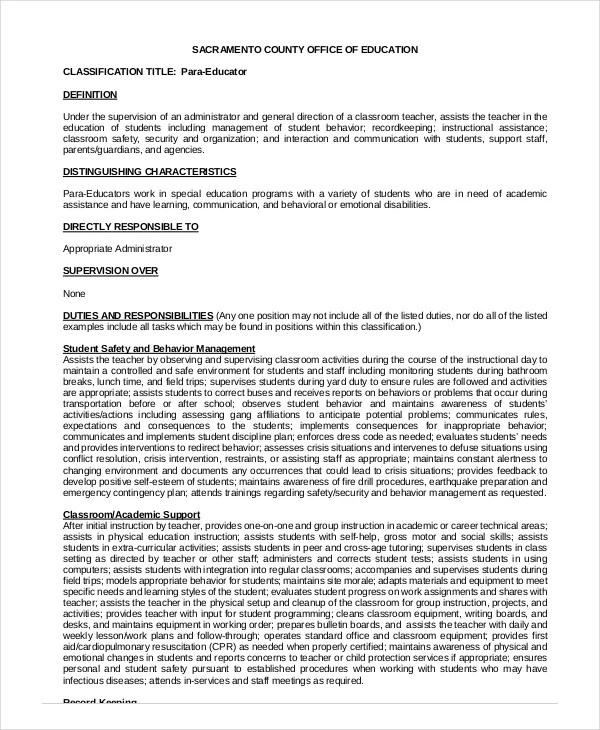 5+ Paraeducator Resume Templates - PDF, DOC Free  Premium Templates