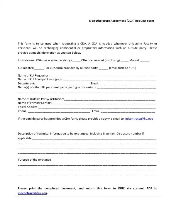 Standard Non Disclosure Agreement Form - 20+ Free Word, PDF