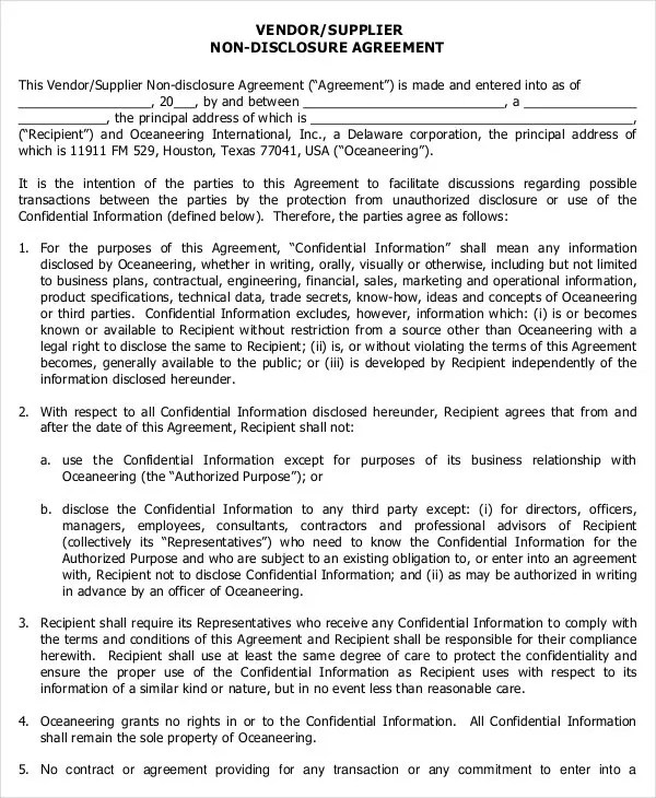 Standard Non Disclosure Agreement Form - 19+ Examples in PDF, Word