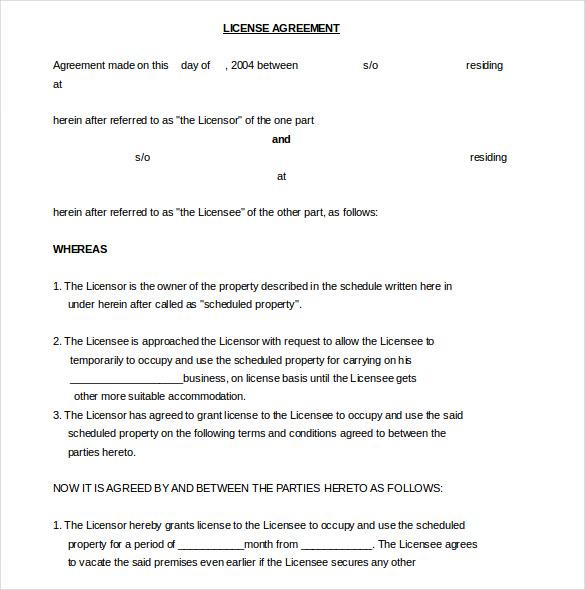 13+ License Agreement Templates u2013 Free Sample, Example, Format - sample licensing agreement