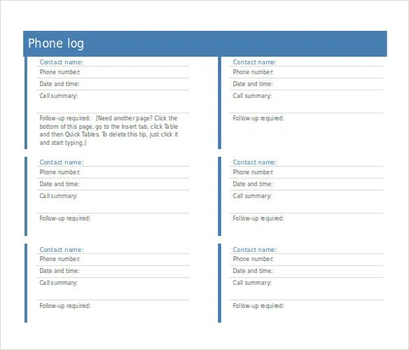 Call Log Template - 16+ Free Word, Excel, PDF Documents Download - phone call sheet template