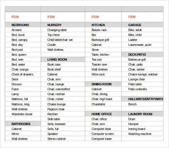13+ Moving Inventory Templates u2013 Free Sample, Example, Format - inventory list example