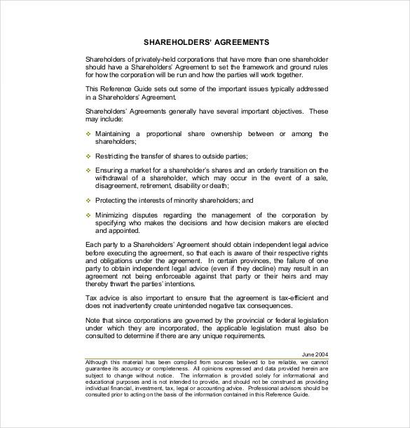 11+ Shareholder Agreement Templates u2013 Free Sample, Example, Format - shareholder agreement