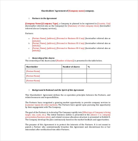 16+ Shareholder Agreement Templates - Free Word, PDF Format Download