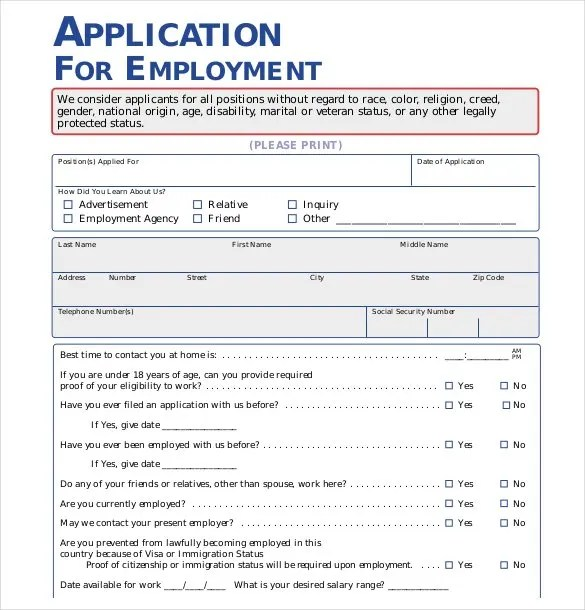 Basic Employment Application Blank Basic Employment Application