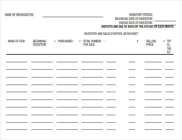 Inventory Spreadsheet Template - 48+ Free Word, Excel Documents - inventory form template
