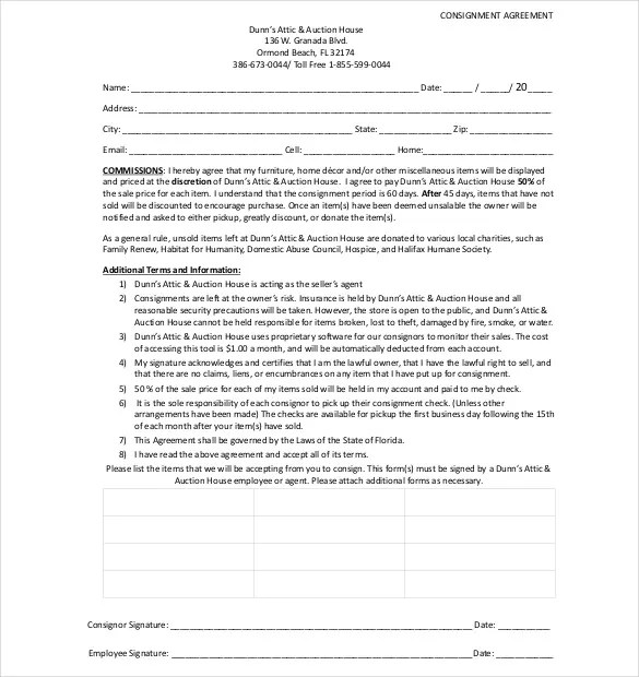 Free Consignment Agreement leave forms template lukex business - consignment form template