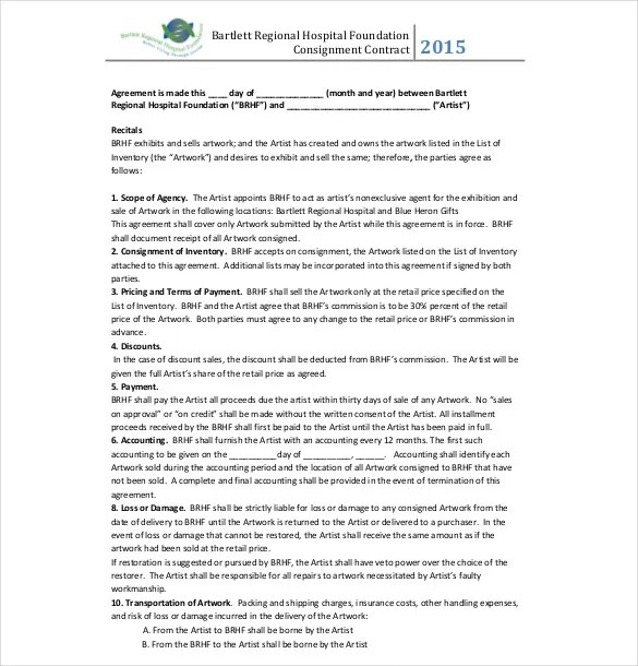 13+ Consignment Agreement Templates \u2013 Free Sample, Example, Format - consignment agreement template