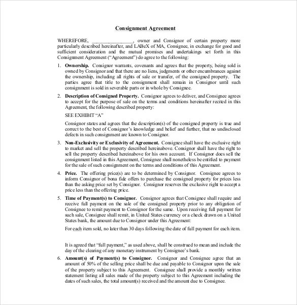 9+ Consignment Agreement Templates u2013 Free Sample, Example, Format - consignment agreement template