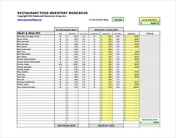 Restaurant Inventory Template - 22+ Free word, Excel Documents - food inventory template