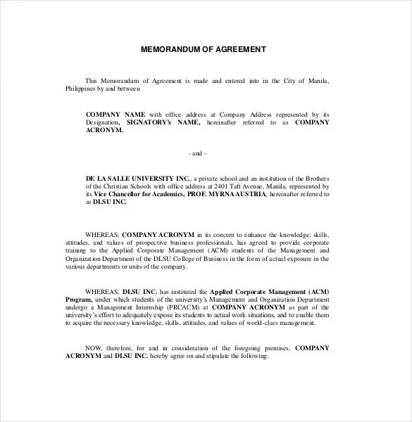 13+ Memorandum of Agreement Templates - PDF, DOC Free  Premium