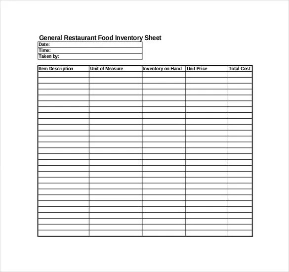 Restaurant Inventory Template - 22+ Free word, Excel Documents - inventory list example