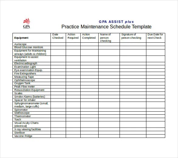 equipment maintenance schedule template - Canasbergdorfbib