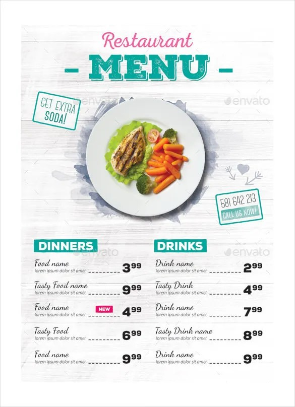 27+ Restaurant Menu Templates u2013 Free Sample, Example Format - sample drink menu template