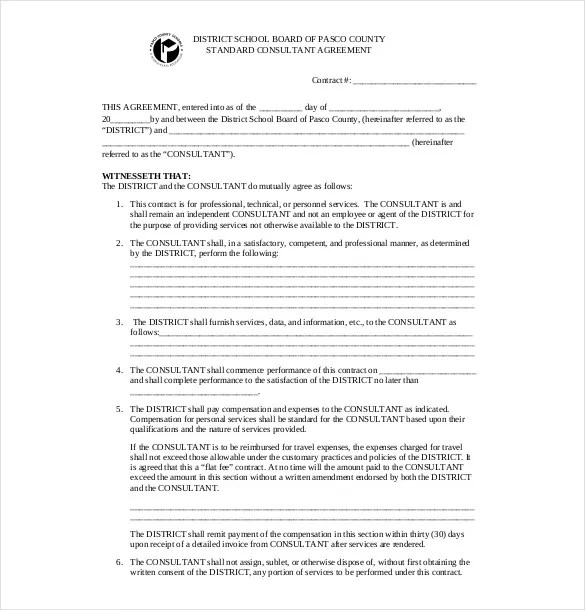 standard consulting agreement – Standard Consulting Agreement
