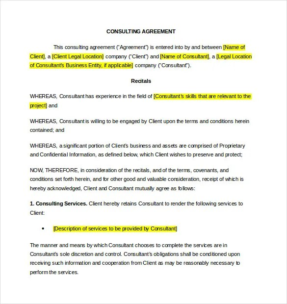 10+ Consultant Agreement Templates \u2013 Free Sample, Example, Format - sample consulting agreement