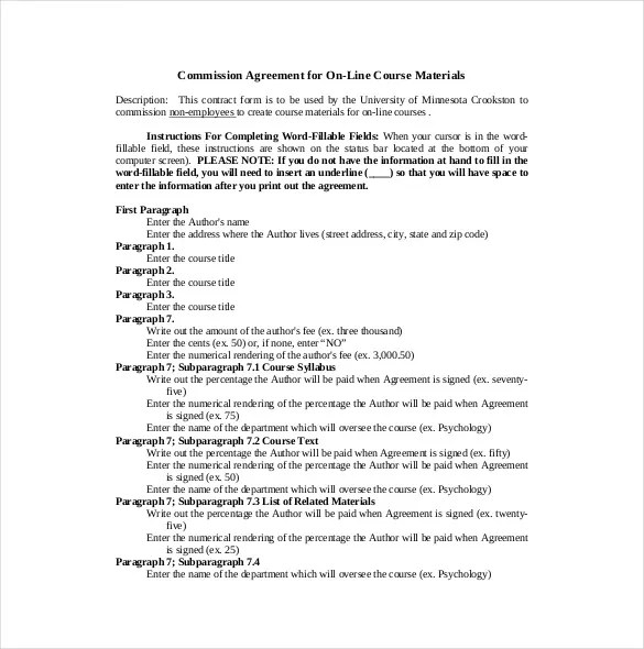 21+ Commission Agreement Template - Free Sample, Example, Format - commission contract template