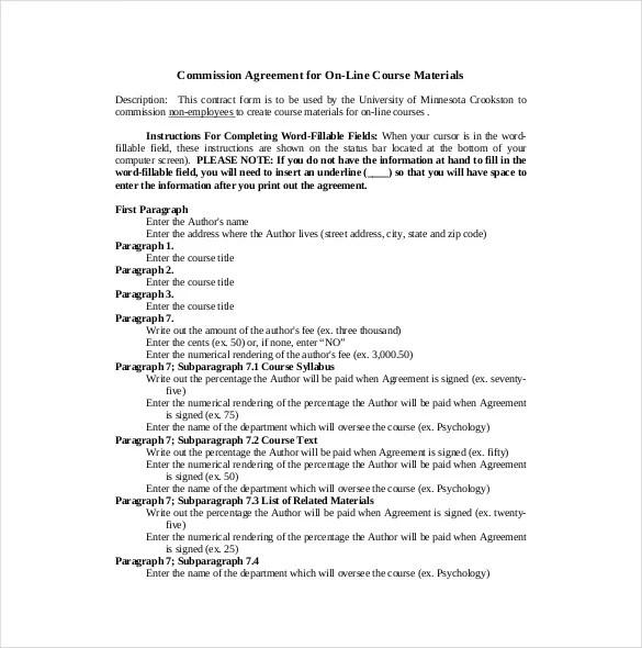 12+ Commission Agreement Template u2013 Free Sample, Example, Format - commission contract template