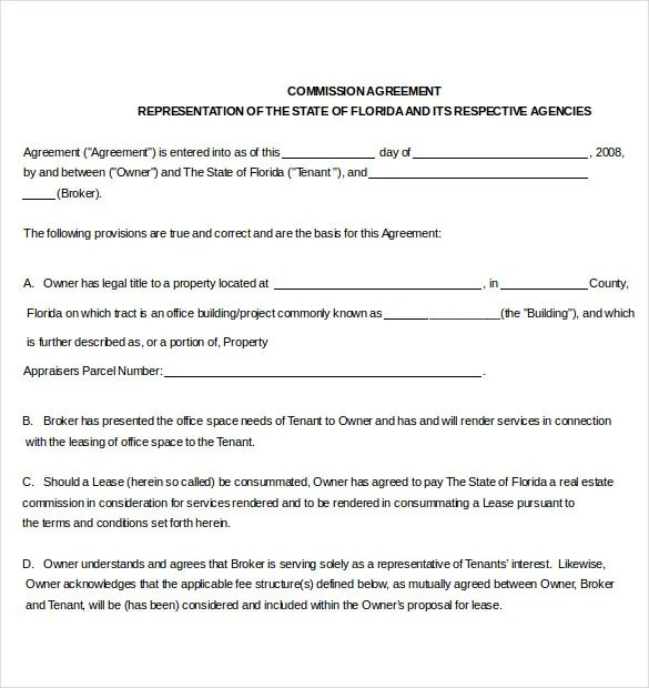 real estate agent commission agreement sample