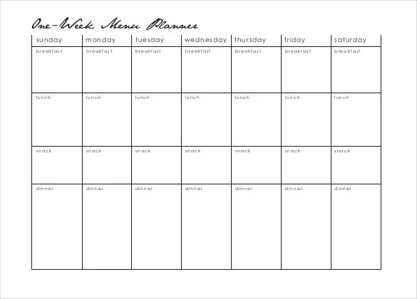 18+ Menu Planner Templates \u2013 Free Sample, Example Format Download