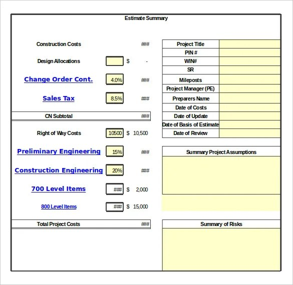 ... Change Order Template   23+ Free Excel, PDF Document Free   Sample  Contract Summary ...