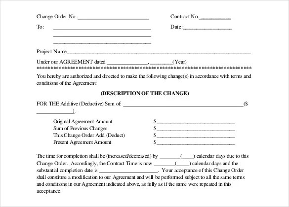 sample of change order form for construction - Deanroutechoice - sample change order template
