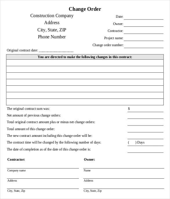 change order forms template - Blackdgfitness
