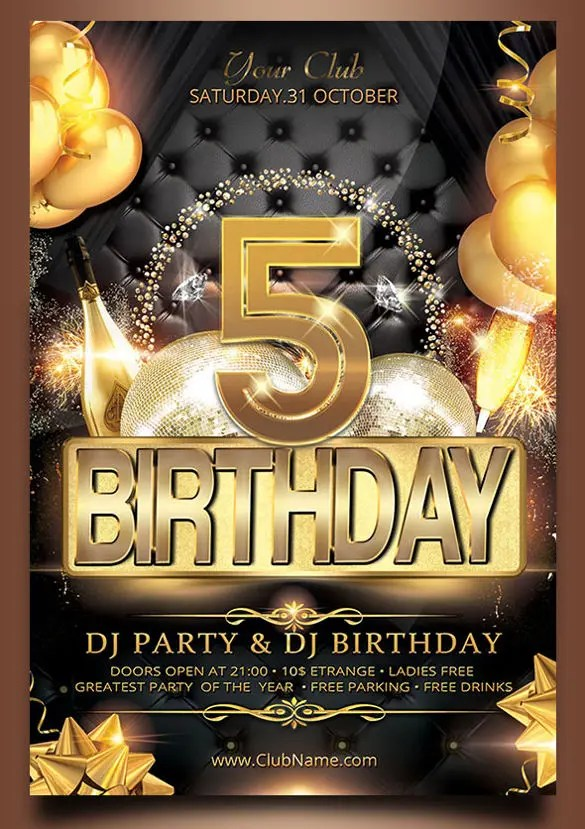 Birthday Flyer Templates \u2013 35+ Free PSD, AI, Vector EPS Format