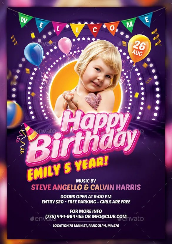 43 + Birthday Flyer Templates - Word, PSD, AI, Vector EPS Free