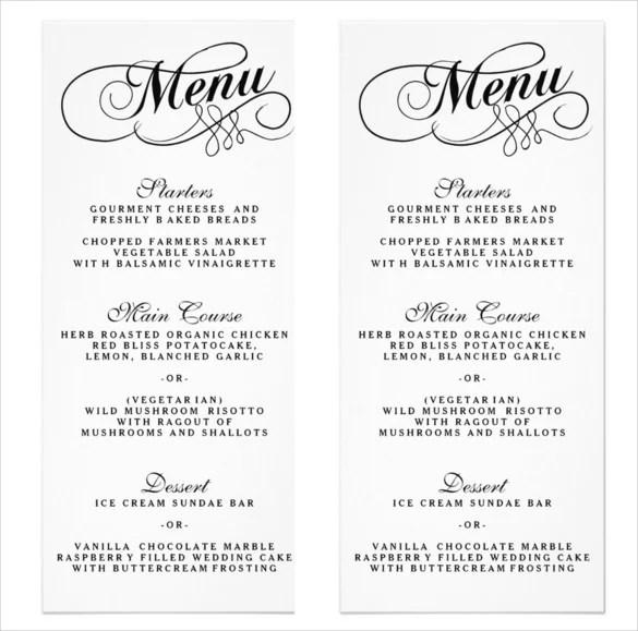 36+ Wedding Menu Templates \u2013 Free Sample, Example Format Download - wedding menu template