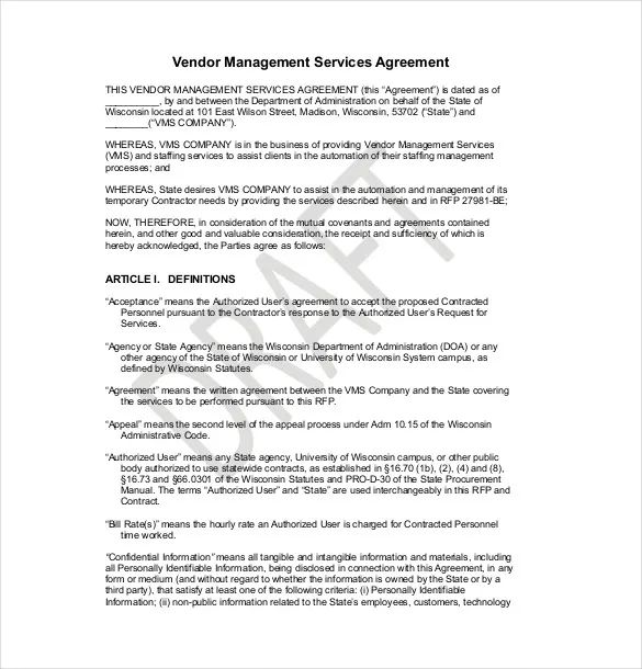 vendor service agreement