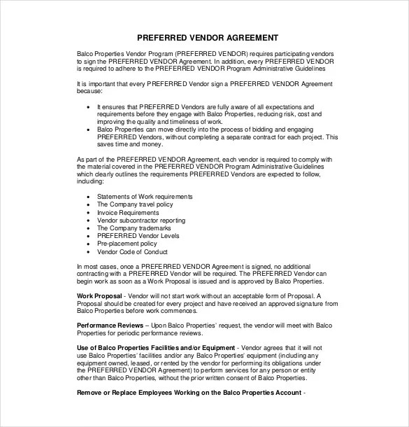 10+ Vendor Agreement Templates u2013 Free Sample, Example, Format - sample vendor contract